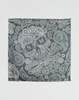 Шелковый платок для пиджака с принтом пейсли и логотипом Noose & Monke Monkey. Цвет: серый