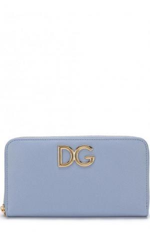 Кожаный кошелек на молнии Dolce & Gabbana. Цвет: голубой