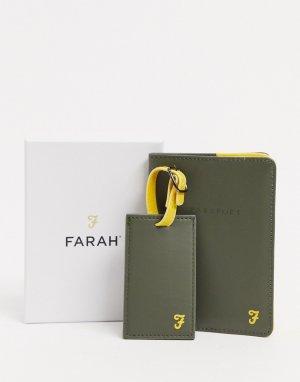 Подарочный набор с багажной биркой и обложкой для паспорта -Зеленый Farah