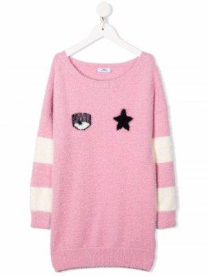 Платье с логотипом Chiara Ferragni Kids. Цвет: розовый
