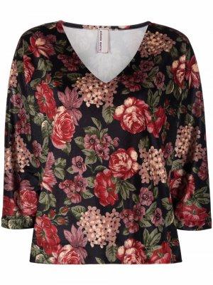 Блузка Oberteil с цветочным принтом Antonio Marras. Цвет: черный