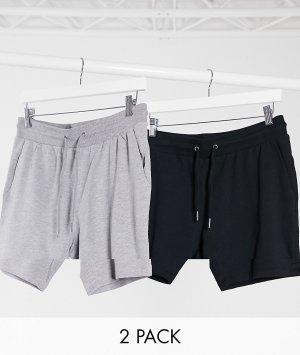 2 пары трикотажных шортов скинни черного/серого цвета -Мульти ASOS DESIGN