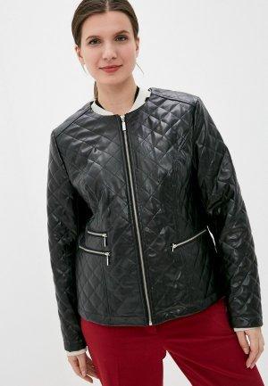 Куртка кожаная Kis. Цвет: черный