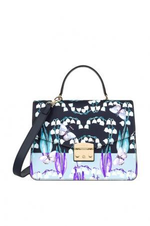 Кожаная сумка Metropolis с принтом FURLA. Цвет: синий