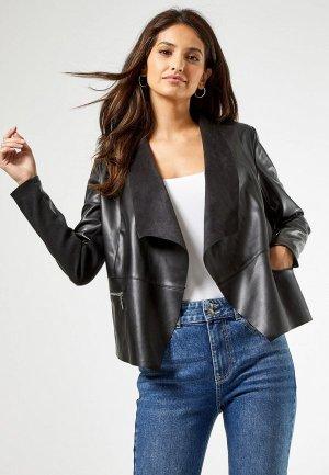 Куртка кожаная Dorothy Perkins. Цвет: черный