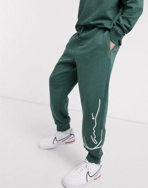 Зеленые джоггеры в стиле ретро -Зеленый Karl Kani