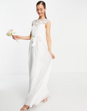Свадебное платье макси цвета слоновой кости с кружевом -Белый Little Mistress