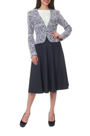 Комплект с юбкой Mannon. Цвет: белый, синий