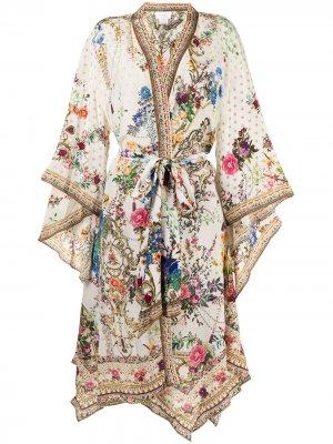 Жакет с цветочным принтом и завязками Camilla. Цвет: белый