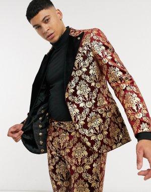 Бордовый бархатный пиджак с золотистым принтом в стиле барокко и контрастными лацканами -Красный Twisted Tailor