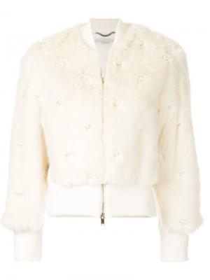 Декорированная куртка-бомбер Stella McCartney. Цвет: белый
