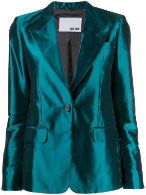 Атласный пиджак строгого кроя Each X Other. Цвет: зеленый
