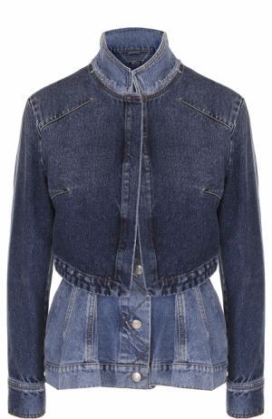 Приталенная джинсовая куртка с потертостями Alexander McQueen. Цвет: голубой