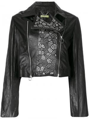 Байкерская куртка с заклепками Versace Jeans Couture. Цвет: черный