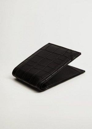 Бумажник с эффектом крокодила - Croco Mango. Цвет: черный