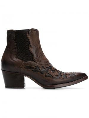 Ковбойские ботинки с вышивкой Alberto Fasciani. Цвет: коричневый