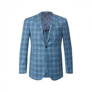 Пиджак из смеси шерсти и шелка Zilli. Цвет: зелёный