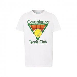 Хлопковая футболка Casablanca. Цвет: белый