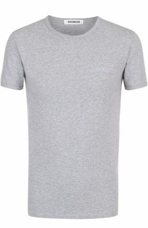 Комплект из двух хлопковых футболок с круглым вырезом Dirk Bikkembergs. Цвет: серый