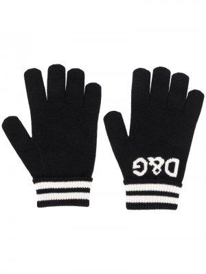 Перчатки вязки интарсия с логотипом Dolce & Gabbana. Цвет: черный