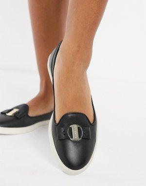 Черные кожаные лоферы Mia-Черный Fiorelli