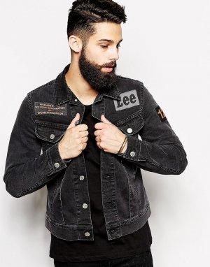 Черная зауженная джинсовая куртка с нашивками Rider by Orjan Ander Lee