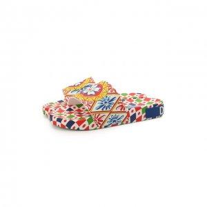 Кожаные шлепанцы Saint Barth Dolce & Gabbana. Цвет: синий