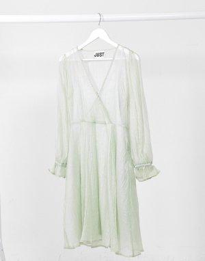 Полупрозрачное серое платье с запахом Sanne-Серый Just Female