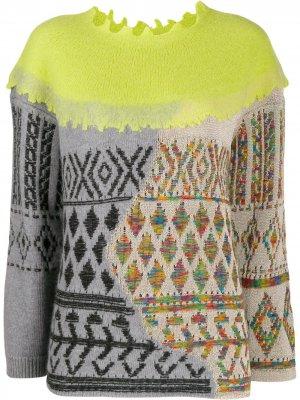 Mix fabric sweater Antonio Marras. Цвет: зеленый
