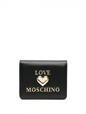 Бумажник с логотипом Love Moschino. Цвет: черный