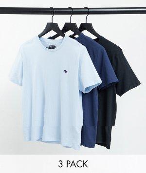Набор из 3 футболок голубого, темно-синего и черного цветов с логотипом -Многоцветный Abercrombie & Fitch