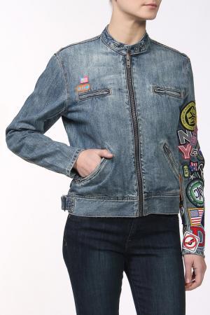 Куртка джинсовая DKNY Jeans. Цвет: мультицвет