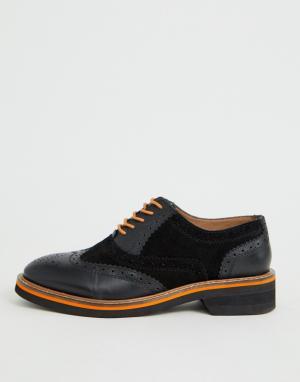 Черные кожаные броги Misse-Черный ASOS DESIGN