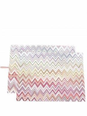 Набор ковриков с узором зигзаг Missoni Home. Цвет: фиолетовый
