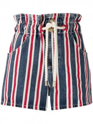 Джинсовые шорты в полоску Elisabetta Franchi. Цвет: синий