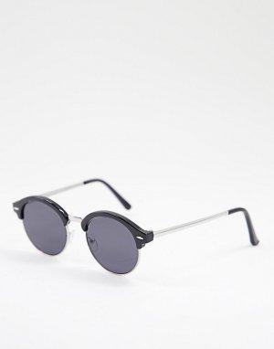 Черные круглые солнцезащитные очки -Черный цвет New Look