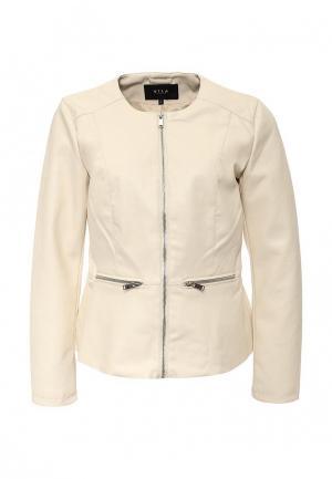 Куртка кожаная Vila. Цвет: бежевый