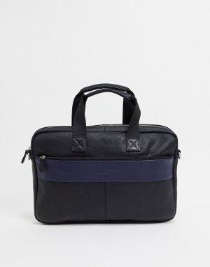 Кожаная сумка для ноутбука с полоской -Черный Silver Street