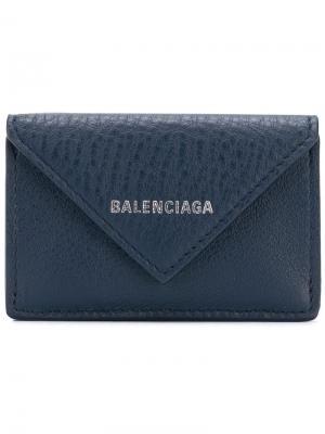 Мини-кошелек Paper Balenciaga. Цвет: синий