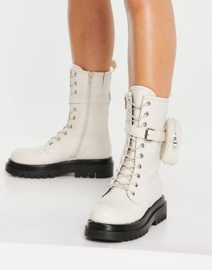 Кремовые ботинки средней высоты на массивной подошве со шнуровкой и съемным кошельком -Белый Truffle Collection