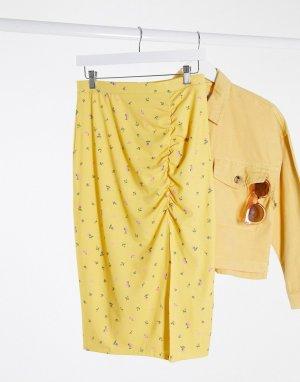 Желтая трикотажная юбка миди с цветочным принтом -Желтый Monki