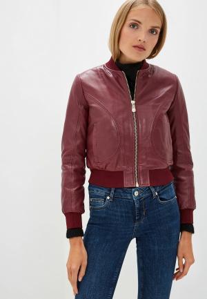 Куртка кожаная Trussardi Jeans. Цвет: бордовый