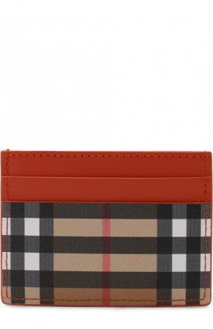 Кожаный футляр для кредитных карт Burberry. Цвет: оранжевый