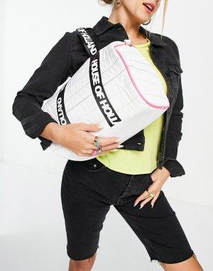 Спортивная сумка белого цвета с радужной строчкой и логотипом -Белый House of Holland