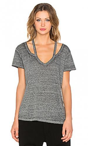 Майка с v-образной горловиной split Pam & Gela. Цвет: серый