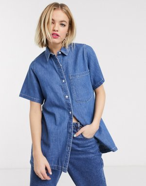 Синяя джинсовая рубашка с короткими рукавами -Синий Monki