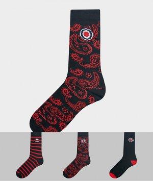 Набор из 3 пар носков (в полоску/с принтом пейсли) -Красный Lambretta