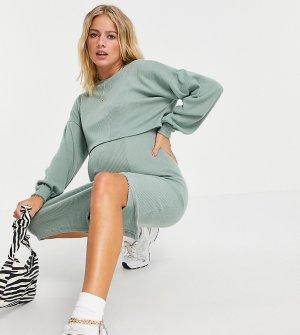 Очень мягкое платье-джемпер миди цвета хаки в рубчик с напуском и длинными рукавами ASOS DESIGN Maternity-Зеленый цвет Maternity