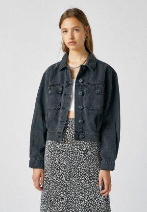 Куртка джинсовая Pull&Bear Join Life. Цвет: черный