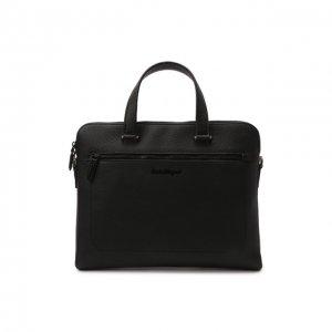 Кожаная сумка для ноутбука Salvatore Ferragamo. Цвет: чёрный